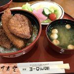 敦賀ヨーロッパ軒 - ミックス丼味噌汁サラダセット