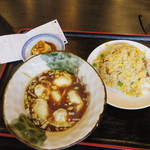 蘭蘭 - 海老ニラ水餃子と炒飯のセット(760円)