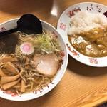 福助食堂 - 料理写真:中かそば・半カレー(750円)