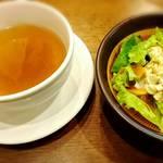 かまやカフェ・デュ・レヴァベール - セットのオニオンスープ   ミニサラダ