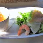 ハナイロカフェ - ランチセットのスープ・サラダ