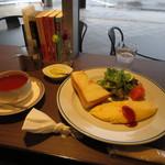 ツタヤ喫茶店 - 半トースト 特製オムレツ モーニング(レモンティー) 750円 (2017.11)