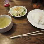 ステーキ食堂 Ogawa - セット(スープ、サラダ、ライス)