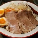 三田製麺所 - 【(限定) 背脂濃厚まぜそば「番長」並 + 半熟玉子】¥930 + ¥110