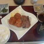 美豚 - 厚切り牛タン&ヒレカツ膳(1550円)