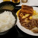 吉野家 - 牛たまハムカツ定食(並)590円+モルツ中瓶410円