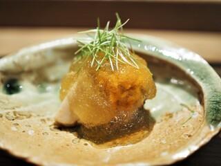 虎白 - 冷し物 鮑 焼き茄子 雲丹 肝ソース