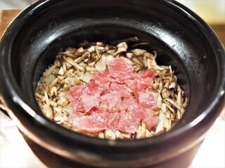 虎白 - 牛しゃぶと松茸の炊き込みご飯