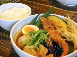 奥芝商店 旭川亭 - 海老祭りカリー1380円+海老スープ100円