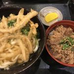 正八郎うどん - 料理写真:牛めし・ごぼう天セット760円