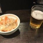 初かすみ酒房 - 一番搾り(520円)と鯛とカンパチの南蛮漬け(280円)