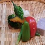 和食 喜友 - 蒸し野菜、ブロッコリー・カリフラワー・インゲン・菜の花・かぼちゃ・ピーマン・赤パプリカ・赤芽芋