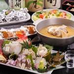 がばい寅次郎 - 天草直送鮮魚盛&名物!水炊きの宴会コースの一例。