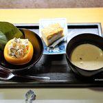 ねぎま - 江戸前の卵焼き、うるめいわし 呉汁 柿の白和え