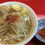 千里眼 - ラーメン 麺180g ヤサイちょっと・ニンニク・ショウガ・カラアゲ別皿で 730円