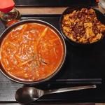 炎麻堂 - トマト酸辣(麺半分)+ミニ麻婆丼 @850円 麺は6種類から、量も半分・標準・大盛から選べます。