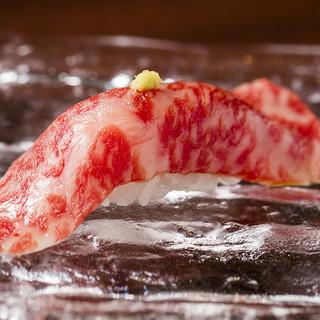 牛肉寿司豪華3貫盛り合わせ1980円