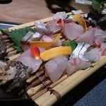 蟹御殿 - ・夕飯 △新鮮お造りにサザエ刺