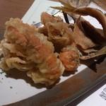 蟹御殿 - ・夕飯 ◎サービスの天ぷら、コハダとアナジャコ