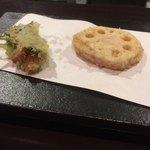 Tomatsu - 蓮根、雲丹のしそ巻き