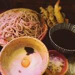 高橋家 - 天ぷら蕎麦+月見とろろ@1,300+450