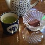 ふみきりそば - そば湯&サービスのお茶と水羊羹