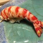 第三春美鮨 - 天然車海老 50g 底曳き網漁 千葉県富津 久々の江戸前の車海老です。 色は江戸前としては鮮やかなな赤ですね。