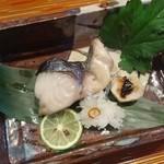 一井 - 焼物 鰆とホタテの二身焼、海老芋田楽、菊花大根