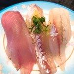 伊豆太郎 - 地魚三点盛り(いなだ  かます  ほうぼう)