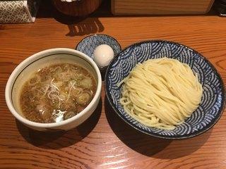 麺 一直 - つけそば 醤油(800円)、味玉(100円)