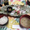 ドライブイン大浦 - 料理写真:磯定食。刺身とご飯と汁。
