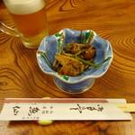割烹 魚仙 - お通しの煮穴子と山菜