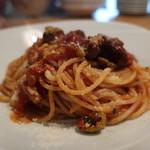 ラピ - 料理写真:北条鹿のサルシッチャのトマトソーススパゲッティ