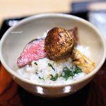 御幸町 田がわ - 牛肉焼き 広島県産黒毛和牛雌A5のイチボ、 松茸