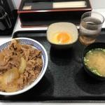吉野家 - 2017年11月 牛丼大盛り、卵、味噌汁