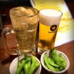 76155676 - レモンサワーとビールと枝豆で乾杯!