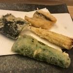 天ぷら懐石 いせ - 穴子・帆立の海苔包み・ヤングコーン・ピーマン