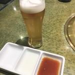 焼き肉 宝山 - まずはビール!