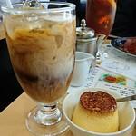 カフェテラス ポンヌフ - ハンバーグスパゲティセットのドリンク&プリン