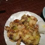 桃酔 - 芽キャベツと貝柱のかき揚げ