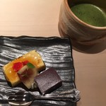 日本料理 銀座 一 - デザート    水羊羹  ブリュレ  抹茶