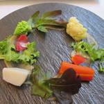 アマルフィイ - 冬の根菜と鮑の肝のバーニャカウダ