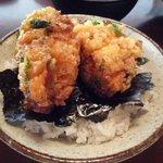 鳴沢苑 - ニジマスのフライ定食。