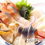 北のグルメ亭 - ボタンエビと貝の丼