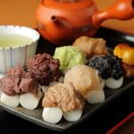 里見茶屋 - 房州里見だんご八種と美味しいお茶セット