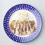 国産豚肩ロース肉のステーキ 緑胡椒ソース