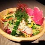 76232677 - 蒸し鶏と季節野菜の香味サラダ