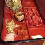 焼肉家族 - 娘のカルビ定食。辛味豆腐はお醤油味にしてくれました(^∇^)