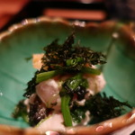 お料理 とみやま - 鶏ささみとほうれん草、海苔の和え物アップ