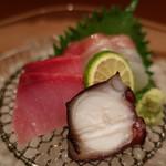 お料理 とみやま - 真鯛の昆布締め、鰤、蛸の刺身の盛合せアップ